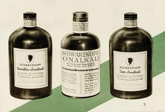 Bottles of the first Schwarzkopf hair wash.
